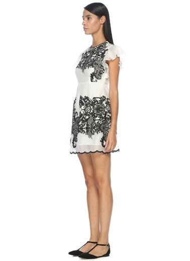 Nakışlı Sırt Dekolteli Mini Elbise-Foxiedox